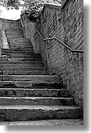black and white, europe, ljubljana, railing, slovenia, stairs, vertical, photograph