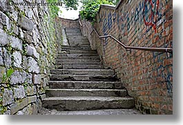 europe, horizontal, ljubljana, railing, slovenia, stairs, photograph