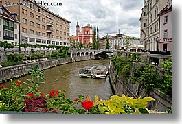 boats, buildings, cities, europe, flowers, horizontal, ljubljana, river bank, rivers, slovenia, photograph