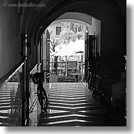 alleys, bicycles, bikes, black and white, europe, ljubljana, slovenia, square format, towns, photograph