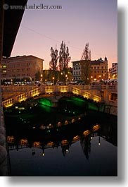 bridge, dusk, europe, ljubljana, over, slovenia, towns, vertical, water, photograph