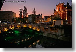 bridge, dusk, europe, horizontal, ljubljana, over, slovenia, towns, water, photograph