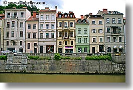 buildings, cities, europe, horizontal, ljubljana, riverbank, slovenia, towns, photograph