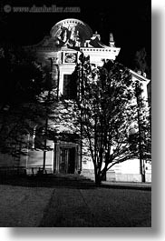 black and white, churches, europe, ljubljana, nite, slovenia, towns, trees, vertical, photograph