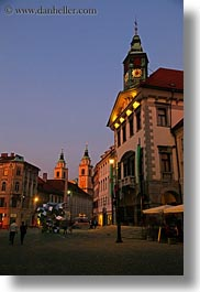 clock tower, europe, ljubljana, slovenia, streets, towns, vertical, photograph