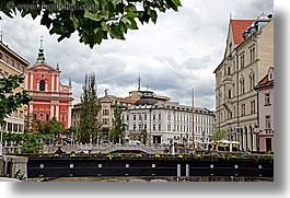 bridge, buildings, cities, europe, flowers, horizontal, leaves, ljubljana, slovenia, towns, photograph