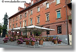 buildings, europe, flowers, horizontal, ljubljana, slovenia, tents, towns, photograph