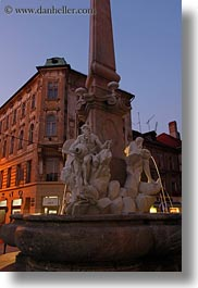 buildings, europe, fountains, ljubljana, slovenia, towns, vertical, photograph