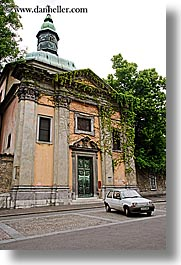 buildings, cars, europe, knights, ljubljana, monastery, slovenia, teutonic, towns, vertical, photograph