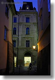 europe, ljubljana, narrow streets, nite, slovenia, slow exposure, towns, vertical, photograph
