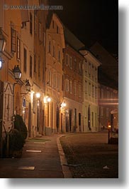 europe, ljubljana, narrow streets, nite, slovenia, towns, vertical, photograph
