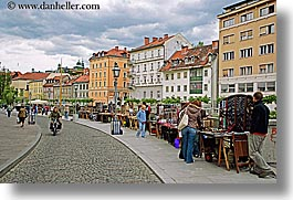 cities, clouds, europe, horizontal, ljubljana, sidewalks, slovenia, streets, towns, vendors, photograph