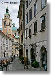 buildings, cities, clouds, europe, ljubljana, pedestrians, slovenia, streets, towns, vertical, walk, photograph