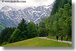 europe, hikers, hiking, horizontal, logarska dolina, mountains, roads, slovenia, snowcaps, photograph