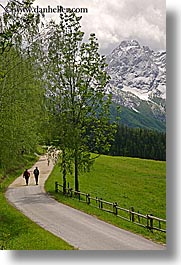 europe, hikers, hiking, logarska dolina, mountains, roads, slovenia, snowcaps, vertical, photograph
