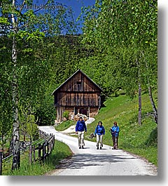 barn, europe, hikers, hiking, logarska dolina, slovenia, vertical, photograph