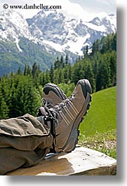 europe, feet, hiking, logarska dolina, mountains, shoes, slovenia, snowcaps, vertical, photograph