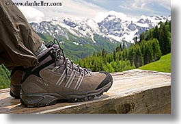 europe, feet, hiking, horizontal, logarska dolina, mountains, shoes, slovenia, snowcaps, photograph
