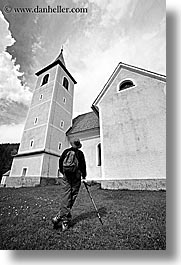 barry, black and white, churches, clouds, europe, hikers, hiking, logarska dolina, men, religious, scenics, slovenia, vertical, photograph