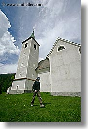 barry, churches, clouds, europe, hikers, hiking, logarska dolina, men, religious, scenics, slovenia, vertical, photograph
