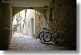 arches, archways, carts, cobblestones, europe, horizontal, pirano, slovenia, photograph