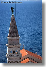 bell towers, buildings, churches, europe, pirano, slovenia, vertical, water, photograph