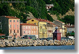buildings, colorful, europe, horizontal, pirano, slovenia, water, photograph