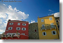 buildings, clouds, colorful, europe, horizontal, pirano, slovenia, photograph