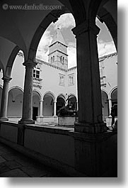 black and white, buildings, cloisters, europe, franciscan, monastery, monestaries, pirano, slovenia, vertical, photograph