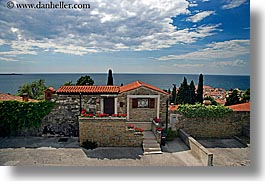 buildings, clouds, europe, horizontal, houses, ocean, pirano, slovenia, views, water, photograph