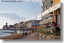 buildings, cafes, clouds, europe, horizontal, outdoors, pirano, slovenia, water, photograph