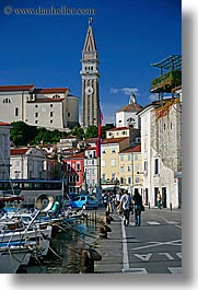 bell towers, buildings, europe, pirano, ports, side, slovenia, vertical, views, photograph