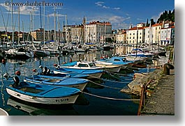 blues, boats, europe, harbor, horizontal, pirano, slovenia, water, photograph