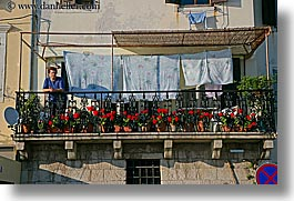 clothes, europe, flowers, hangings, horizontal, laundry, pirano, slovenia, windows, womens, photograph