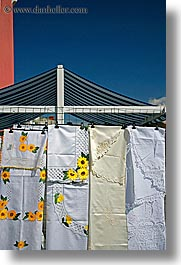 europe, fabrics, flowered, pirano, slovenia, vertical, photograph