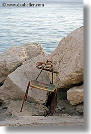 chairs, europe, old, pirano, rocks, slovenia, vertical, photograph