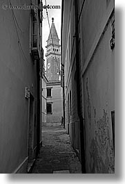 alleys, bell towers, black and white, cobblestones, europe, narrow streets, pirano, slovenia, vertical, photograph