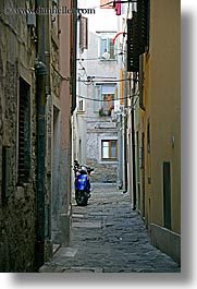 blues, cobblestones, europe, motorcycles, narrow streets, pirano, slovenia, vertical, photograph