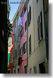 buildings, colorful, europe, narrow streets, pirano, slovenia, vertical, windows, photograph