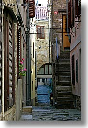 alleys, cobblestones, europe, narrow, narrow streets, pirano, slovenia, vertical, photograph