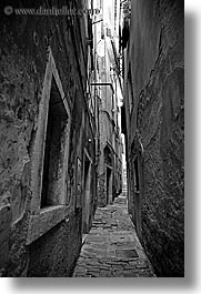 alleys, black and white, cobblestones, europe, narrow, narrow streets, pirano, slovenia, vertical, photograph
