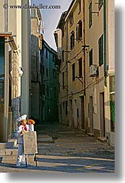 boards, europe, narrow streets, pirano, promo, restaurants, slovenia, vertical, photograph