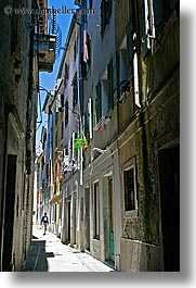 alleys, europe, narrow streets, people, pirano, slovenia, vertical, walk, walking, photograph