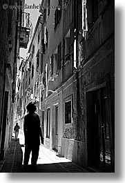 alleys, black and white, europe, narrow streets, people, pirano, silhouettes, slovenia, vertical, walk, walking, photograph