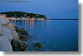 coastline, dusk, europe, horizontal, nite, ocean, pirano, slovenia, slow exposure, water, photograph