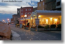 coast, dusk, europe, horizontal, long exposure, nite, pirano, restaurants, rockies, slovenia, photograph