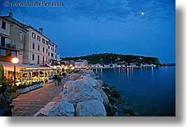 coast, dusk, europe, horizontal, moon, nite, pirano, restaurants, rockies, slovenia, slow exposure, water, photograph