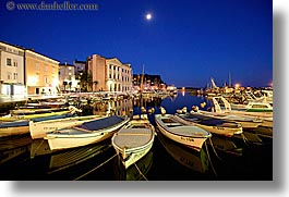boats, churches, cityscapes, europe, harbor, horizontal, long exposure, moon, nite, pirano, slovenia, photograph