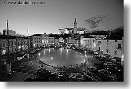 black and white, churches, cityscapes, europe, horizontal, nite, piazza, pirano, slovenia, slow exposure, photograph