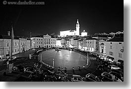 bell towers, black and white, churches, cityscapes, europe, horizontal, long exposure, nite, piazza, pirano, slovenia, photograph